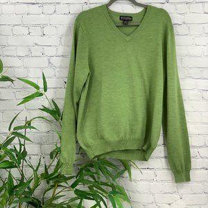 Brooks Brothers Green V-Neck Marino Wool Sweater